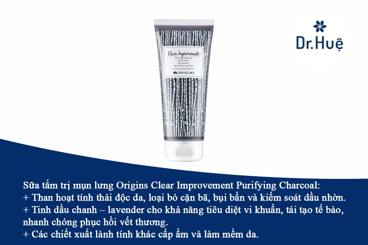 Sữa tắm trị mụn lưng Origins Clear Improvement Purifying Charcoal