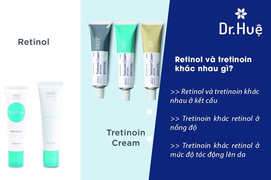 So sánh sự khác nhau giữa retinol và tretinoin như thế nào
