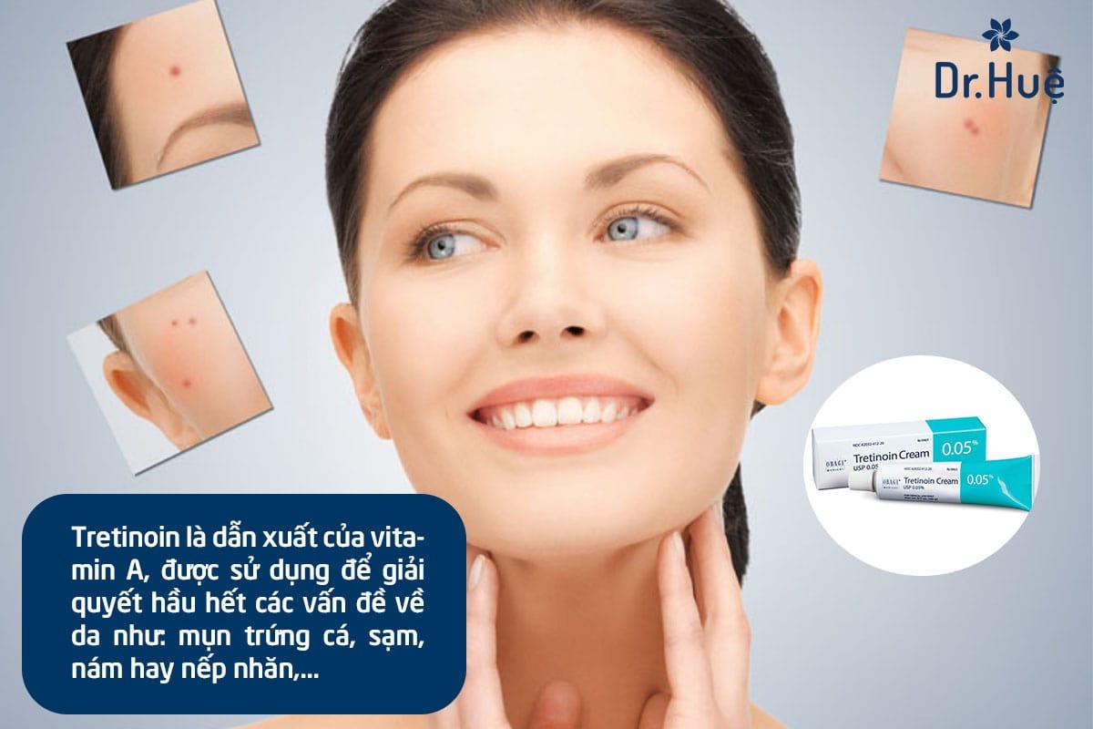 Tretinoin là chất gì có tác dụng gì trong làm đẹp - trị mụn và cách sử dụng đúng cách